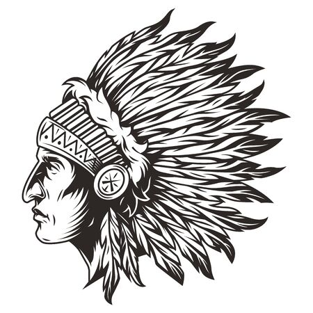 Native american indian chief head with traditional feathers headdress in vintage monochrome style isolated vector illustration