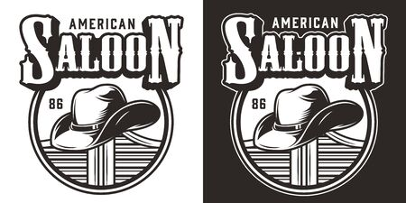 Vintage wild west logo with cowboy hat lying on saloon swinging doors isolated vector illustration