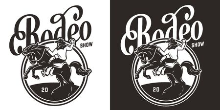 Vintage monochrome rodeo print with cowboy riding horse isolated vector illustration