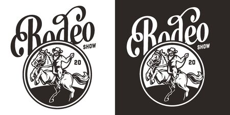 Vintage rodeo show round label with cowboy riding horse in monochrome style isolated vector illustration