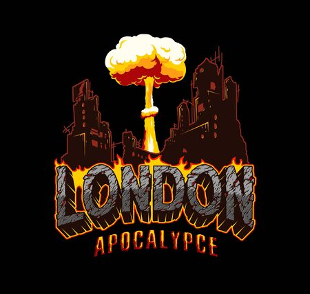 Armageddon and apocalypse vintage concept with London desert style lettering demolished city and nuclear bomb explosion isolated vector illustration Illusztráció