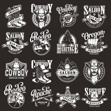 Vintage wild west labels set with cowboy boots hat sheriff badge star gun horseshoe flint arrowhead old wagon saloon signboard and swinging doors smoking pipes isolated vector illustration