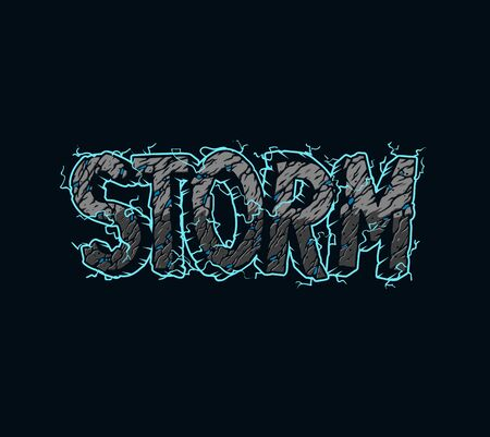 Vintage Storm inscription template with lightnings and desert style letters isolated vector illustration