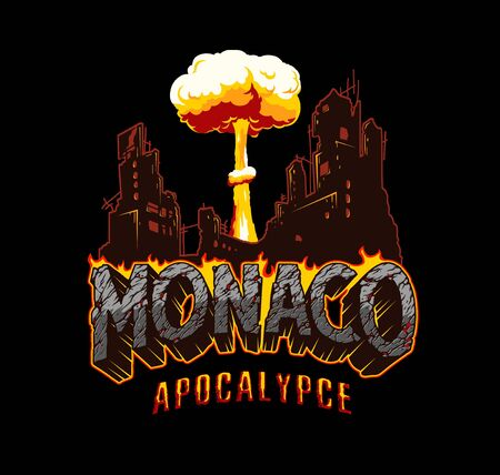 Armageddon and catastrophe vintage concept with demolished city mushroom cloud shape Monaco fiery inscription with cracked desert sand texture isolated vector illustration Illusztráció
