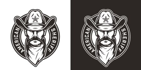Vintage monochrome wild west round emblem with mustached sheriff head in cowboy hat and scarf isolated vector illustration Stock Illustratie