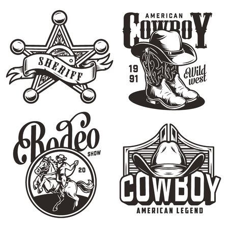 Vintage monochrome wild west emblems with sheriff badge star cowboy hat boots saloon swinging doors rider and horse isolated vector illustration Vetores