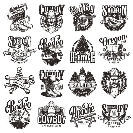 Vintage wild west emblems collection with rodeo and cowboy labels and prints on white background isolated vector illustration