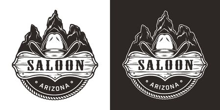 Vintage wild west monochrome emblem with cowboy hat saloon signboard on desert mountains landscape isolated vector illustration