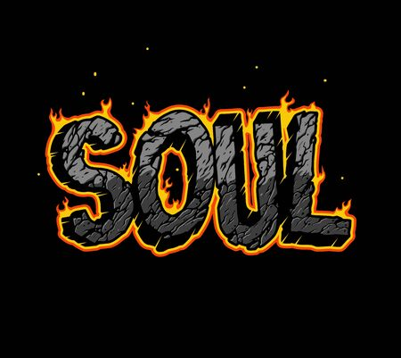 Vintage burning Soul lettering with cracked broken sand texture isolated vector illustration  イラスト・ベクター素材