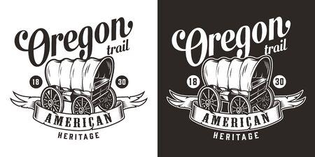 Impression monochrome vintage de l'ouest sauvage avec un vieux wagon et différentes inscriptions illustration vectorielle isolée