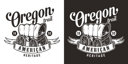 Vintage wild west monochrome print with old wagon and different inscriptions isolated vector illustration