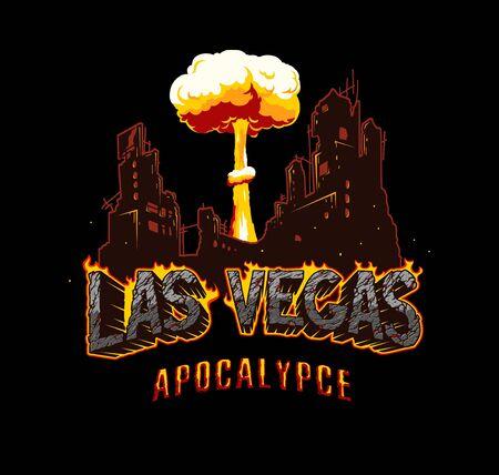 Apocalypse and armageddon vintage template with ruined city silhouette mushroom cloud shape fiery Las Vegas inscription with cracked desert sand texture isolated vector illustration Illusztráció