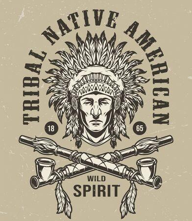 Étiquette monochrome vintage de l'ouest sauvage avec la tête de chef indien amérindien en coiffe de plumes et illustration vectorielle de pipes croisées isolées Vecteurs