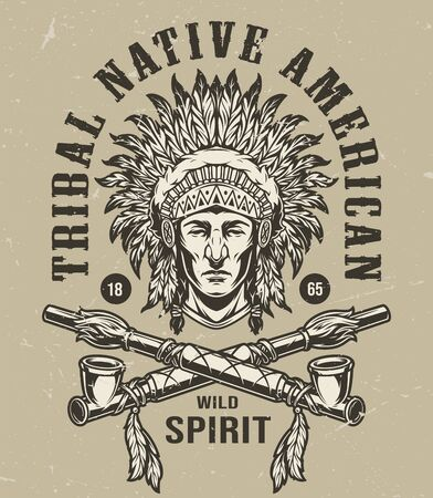 Vintage wild west monochrome label with native american indian chief head in feathers headdress and crossed smoking pipes isolated vector illustration Vector Illustration