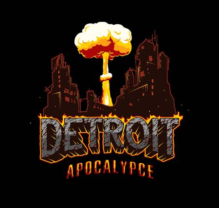 Detroit apocalypse explosive concept with destroyed city nuclear bomb explosion burning lettering with cracked sand texture in vintage style isolated vector illustration