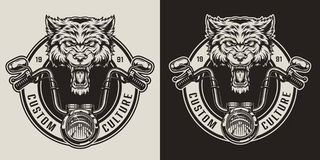 Vintage angry wolf biker mascot badge with motorcycle steering wheel in monochrome style isolated vector illustration Illustration