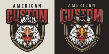 Colorful vintage animal biker mascot logo with aggressive eagle head in motorcycle helmet isolated vector illustration Фото со стока - 139498995