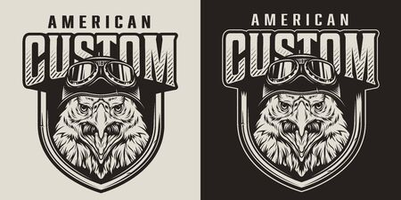Vintage custom motorcycle label with angry eagle head in moto helmet in monochrome style isolated vector illustration Иллюстрация
