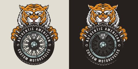 Colorful custom motorcycle logo with angry tiger holding moto wheel in vintage style isolated vector illustration 向量圖像