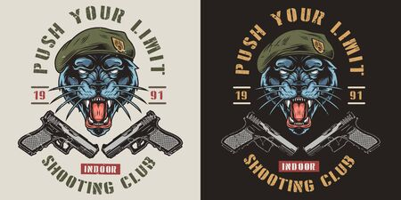 Shooting club colorful vintage print with inscriptions handguns and aggressive black panther in navy seal beret isolated vector illustration 向量圖像