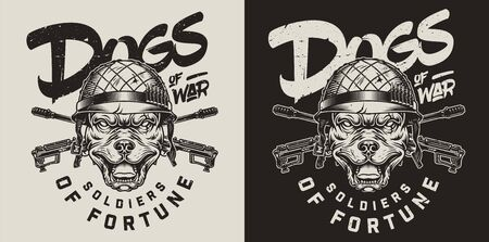 Vintage military dog emblem with angry pitbull head in soldier helmet and crossed assault rifles isolated vector illustration