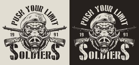 Vintage military monochrome badge with angry wild boar head in navy seal beret and crossed rifles isolated vector illustration