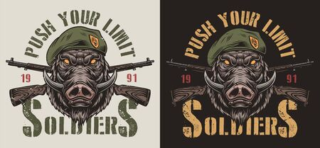 Vintage animal soldier colorful label with aggressive wild boar head in navy seal beret and crossed carbine rifles isolated vector illustration 向量圖像