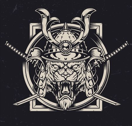 Angry tiger head in samurai helmet with crossed swords in vintage monochrome style isolated vector illustration 向量圖像