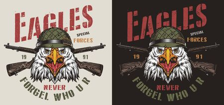 Colorful military vintage print with inscriptions crossed rifles and eagle head in soldier helmet isolated vector illustration