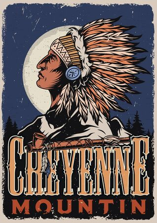 Wild west colorful poster with smoking pipe and american indian chief wearing feathers headwear on night forest landscape in vintage style vector illustration