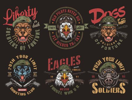 Vintage military colorful badges with pistols crossed assault and carbine rifles angry animals heads in navy seal berets soldier and pilot helmets isolated vector illustration