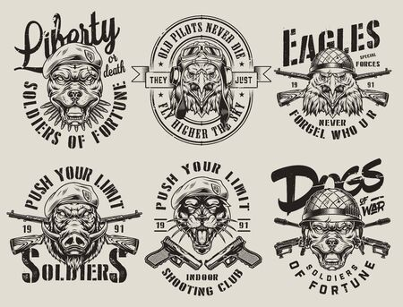 Vintage military monochrome emblems with weapons and angry pitbull eagle wild boar black panther heads in different soldier helmets isolated vector illustration 向量圖像