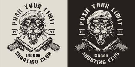 Vintage monochrome military label with guns and angry black panther head in navy seal beret isolated vector illustration 向量圖像