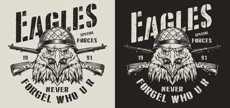 Vintage animal soldier monochrome logotype with angry eagle in military helmet and crossed carbine rifles isolated vector illustration