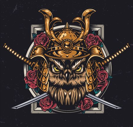 Owl samurai vintage colorful concept with angry bird head in metal helmet crossed swords and roses isolated vector illustration Фото со стока - 139499065