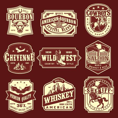 Vintage wild west monochrome emblems set with premium quality whisky american bourbon rodeo show sheriff cowboy saloon labels and badges on dark red background isolated vector illustration