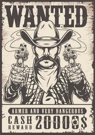 Vintage western wanted monochrome poster with mustached cowboy in hat and scarf holding revolvers vector illustration  イラスト・ベクター素材