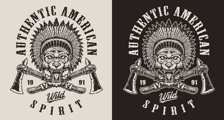 Vintage wild west monochrome emblem with crossed tomahawks and angry wolf head in native american indian chief headwear with feathers isolated vector illustration
