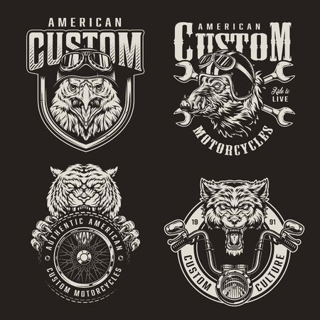 Vintage monochrome custom motorcycle emblems with animals bikers mascots crossed wrenches moto tire and steering wheel isolated vector illustration