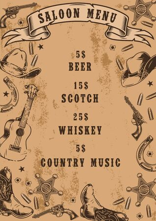 Vintage saloon menu template with different wild west elements and prices of drinks and country music in monochrome style vector illustration