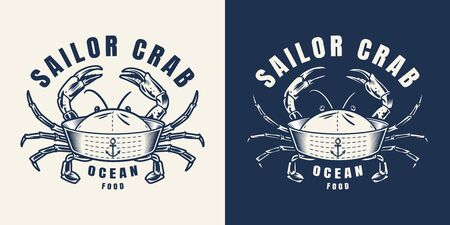 Vintage seafood monochrome emblem of sailor hat with crab limbs isolated vector illustration  イラスト・ベクター素材