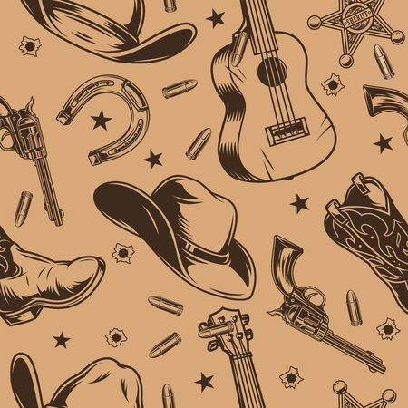 Vintage wild west monochrome background with acoustic guitar cowboy hat boot guns bullet holes stars sheriff badge horseshoe vector illustration Vettoriali