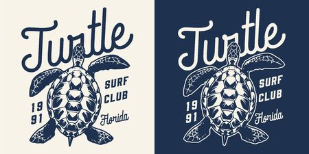 Vintage surfing club monochrome print with letterings and turtle isolated vector illustration