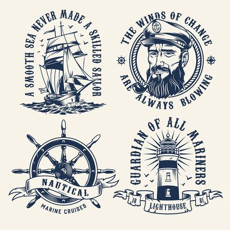Vintage nautical monochrome labels with sailing ship rudder lighthouse and sailor head with smoking pipe isolated vector illustration  イラスト・ベクター素材
