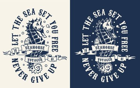 Vintage monochrome marine print with ribbon around seahorse on light and dark backgrounds isolated vector illustration