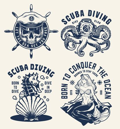 Vintage scuba diving and nautical emblems with skull in sea captain hat ship wheel octopus in diving helmet seahorse seashell mermaid isolated vector illustration