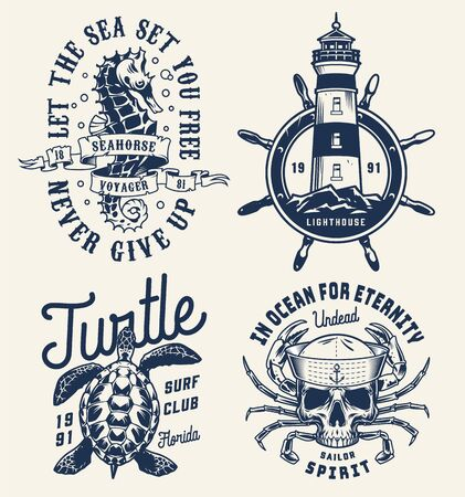 Monochrome sea and marine badges with seahorse lighthouse rudder turtle skull in sailor cap with crab limbs in vintage style isolated vector illustration  イラスト・ベクター素材