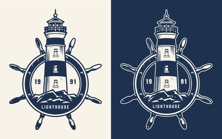 Vintage marine and sea badge with lighthouse and rudder in monochrome style isolated vector illustration
