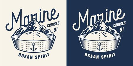 Vintage marine monochrome badge with letterings sailor hat and mountains isolated vector illustration