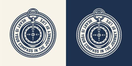 Vintage nautical round print with navigational compass in monochrome style isolated vector illustration  イラスト・ベクター素材